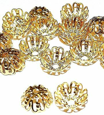 M531 Bright Gold 12mm Round Open Filigree Plated Brass Bead Caps 20pc