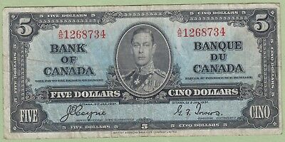 1937 Bank of Canada Five Dollar Note - Coyne/Towers - A/S1268734 - Fine