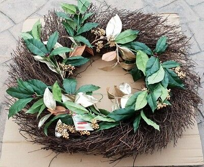 Twig Circle Wreath Willow Green & Gold Decoration Rustic Country Style 570mm