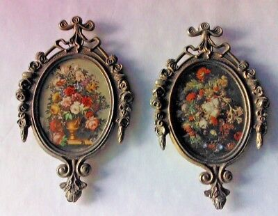 Two (2) Vintage Small Ornate Oval Brass Picture Frames Made in ITALY Brass Metal