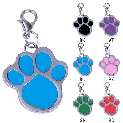 3Pcs Personalized Dog Tags Engraved Cat Puppy Pet ID Name Collar Tag Paw Shape