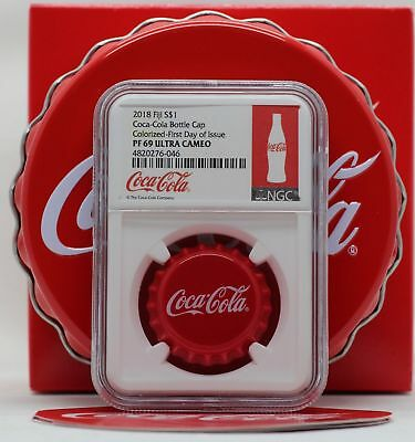 2018 Fiji Coca-Cola Coke Bottle Cap 6g Silver NGC PF69 First Day Coin JY930