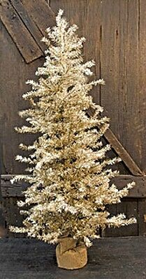 New Primitive Shabby Rustic Vintage ANTIQUE SILVER PINE CHRISTMAS TREE 4 ft