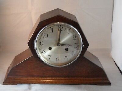 Rare? Art Deco Shape Haller Chiming Mantle Clock Working No Key Need Attention?