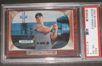 1955 Bowman MICKEY MANTLE Baseball Card PSA 4 VG-EX #202 Antique Trading Cards