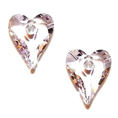 SCW1147 Rosaline Light Pink 12mm Faceted Wild Heart Swarovski Crystal Bead 2pc