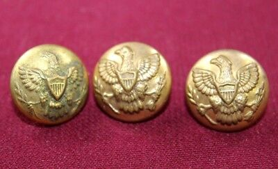 """LOT OF 3 U.S. ARMY INDIAN WARS GREAT SEAL UNIFORM BUTTONS 13/16"""" 21mm HORSTMANN"""