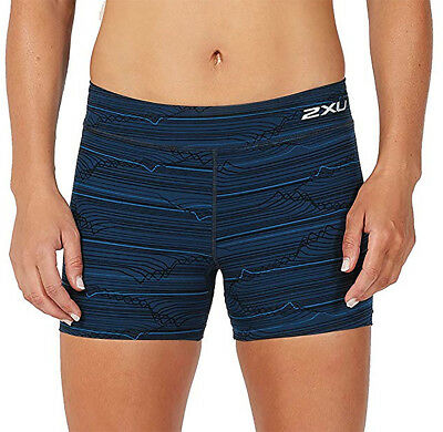 2XU Fitness Compression 4 Inch Womens Short Running Tights - Blue
