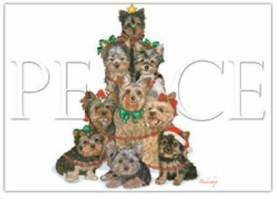 Ten Cards Pack YORKIE Peace Dog Breed Christmas Cards USA made