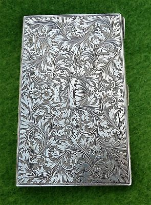 FAB TALL ORNATE VINTAGE ITALIAN SILVER CIGARETTE OR CARD CASE - 4.99 ozt