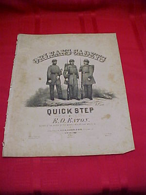 1861 Orleans Cadets Quick Step Sheet Music w/ CSA Soldiers; New Orleans Imprint