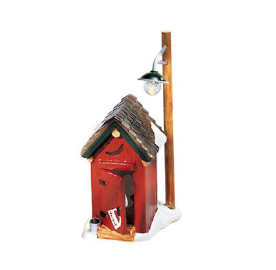 """Dept 56 Snow Village - Backwoods Outhouse 55036 """"lights"""" Battery Operated Mint"""