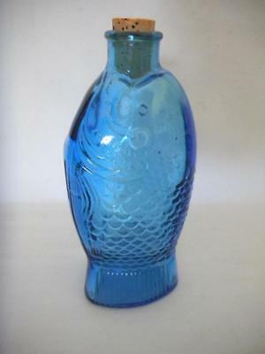 Blue Glass WHEATON Fish Shaped Bottle DOCTOR FISCH'S Bitters MILLEVILLE NJ 7.5""