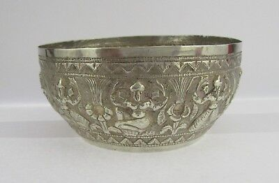 Early 20th C Burmese High Grade Silver Repousse Decorated Bowl, Dancers & Plants