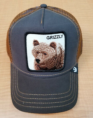 b4768491bc0 Goorin Bros. Animal Farm Trucker Baseball Snapback Hat Cap Grizzly Bear w   Blue
