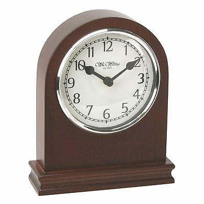 Wooden Dark Walnut Finish Arched Mantel Clock.new And Boxed. Wood Mantle