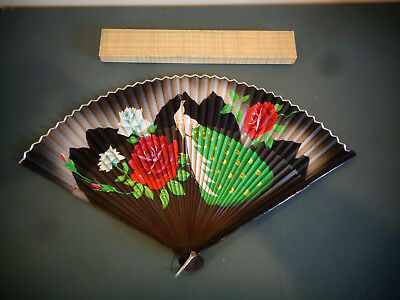 Vintage Hand Painted Manual Folding Oriental Asian Hand Held Fan Peacock & Roses