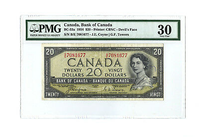 1954 $20 CANADA PMG 30 DEVIL'S FACE BC-33a BANKNOTE S/N B/E 7081667 ANNOTATION