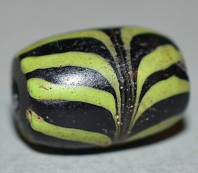 Antique Venetian Black Italian Glass Bead W Green Combed Feather, African Trade