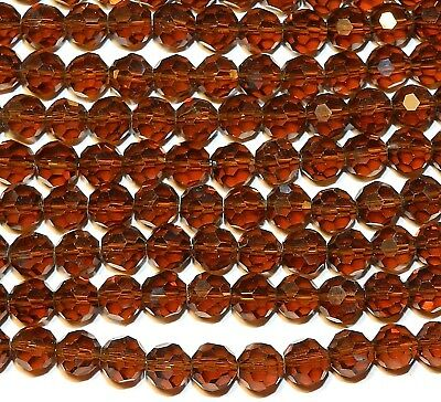 """CRB679 Dark Brown Smoky Topaz 8mm Faceted Round Crystal Beads 21"""""""
