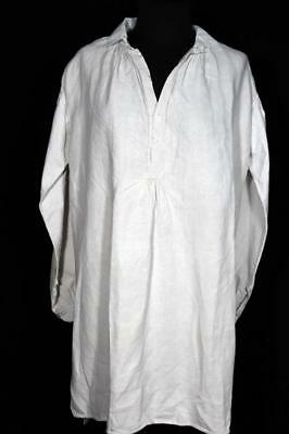 Very Rare French Antique 19Th Century Flax Linen Hand Made Shirt Size Large