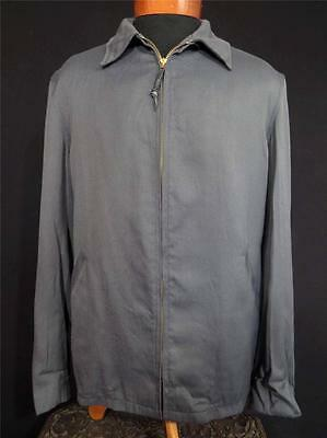 Very Rare Vintage 1940's-1950's Long Grey Rayon Gabardine Jacket Size 42 Long