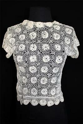 Very Rare French Antique Edwardian Tea Color Hand Made Irish Lace Blouse Size 34