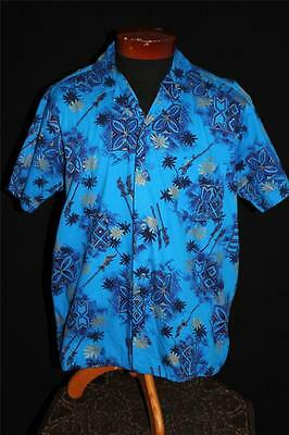 Rare Vintage 1950's Blue Cotton Gold Painted Hawaiian Print Shirt Size Large