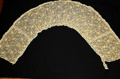 """French Antique Edwardian Period Embroidered Cotton Lace Piece 83"""" L X 21"""" W"""