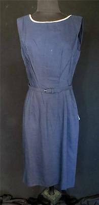 Rare Vintage 1950's-1960's Deadstock Blue Pink Trim Rayon Dress & Jacket Size 10