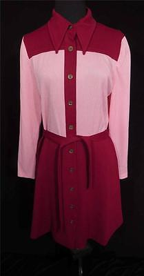 """Rare Vintage 1970's """"deadstock"""" Never Worn Red & Pink Poly Knit Dress Size 8+"""