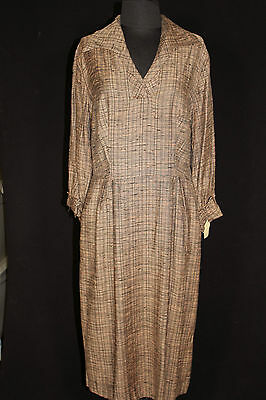 Vintage 1950's Deadstock Never Worn Brown & Black Rayon Dress Size 14-16