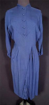 Very Rare French 1940's-1950's Vintage Blue Rayon Dress Exc Cond Size 6+
