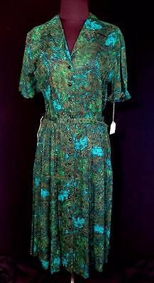 Very Rare Vintage Deadstock Never Worn 1950's Sheer Cotton Floral Dress Size 10