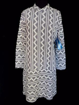 Very Rare Vintage Deadstock Never Worn 1970's Grey And White Knit Dress 12-14