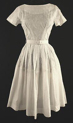 Vintage 1960's Deadstock White Embroidered Dress Sz 2+