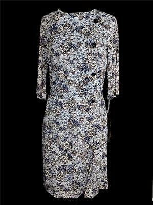 Vintage 1960's Deadstock Grey, Black And White Floral Print Dress Size 10+