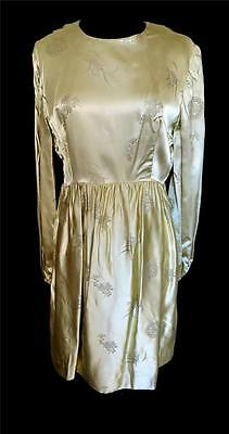 Rare Vintage Classic 1960's Gold Chinese Rayon Satin Brocade Dress Size 10