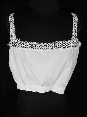 Rare French Edwardian-1920'S White Camisole With Lace Trim Sz 36-38