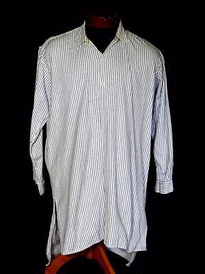 Rare Vintage 1940's Long French Blue & White Striped Cotton Shirt Size Large