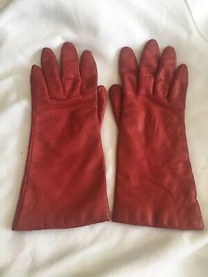 Women's Red Leather, Vintage Winter Lined Driving Gloves, Size 7