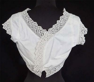 Very Rare French Edwardian Era White Cotton Lace Trimmed Camisole Size 36