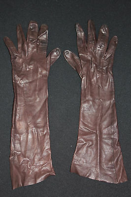 Vintage 1950'S Long Brown Fine Leather Gloves Size 5