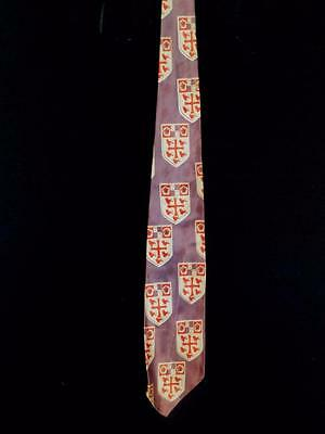"""Rare Vintage 1950's Lavender + Red Wide Satin Rayon Tie With Crest 53"""" X 3 1/2""""w"""