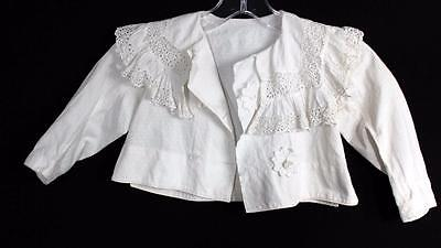 Very Rare French Edwardian White Cotton Infant Size Jacket 6 Months