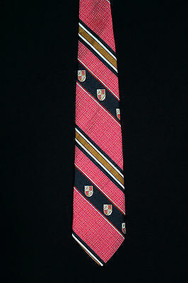 Vintage 1980's Red, Black And Gold Wide Classic Crest Tie