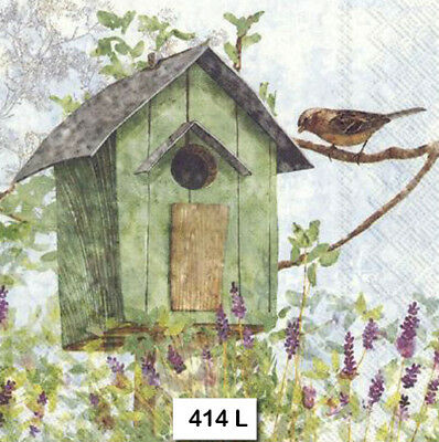 (414) TWO Individual Paper Luncheon Decoupage Napkins - GREEN BIRDHOUSE, BIRD