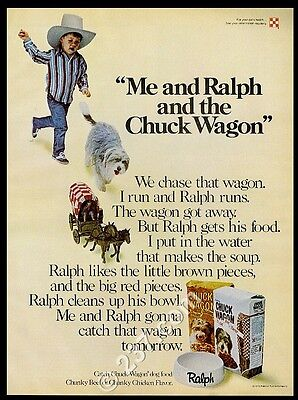 1975 Bearded Collie chasing little covered wagon Chuck Wagon dog food print ad
