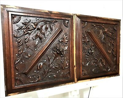 Pair gothic scroll leaves fruit panel Antique french carving salvaged furniture