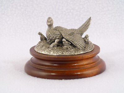 Chilmark RINGNECK PHEASANT HEN & CHICKS Pewter Figurine